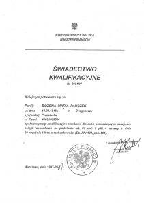 Bożena Pauszek - Świadectwo Kwalifikacyjne