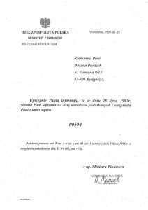 Bożena Pauszek - Wpis na listę Doradców Podatkowych