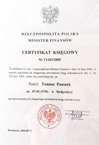 Tomasz Pauszek - Certyfikat Księgowy